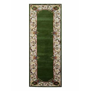 Reviews Knecht Oriental Hand-Tufted Green White Area Rug By Alcott Hill