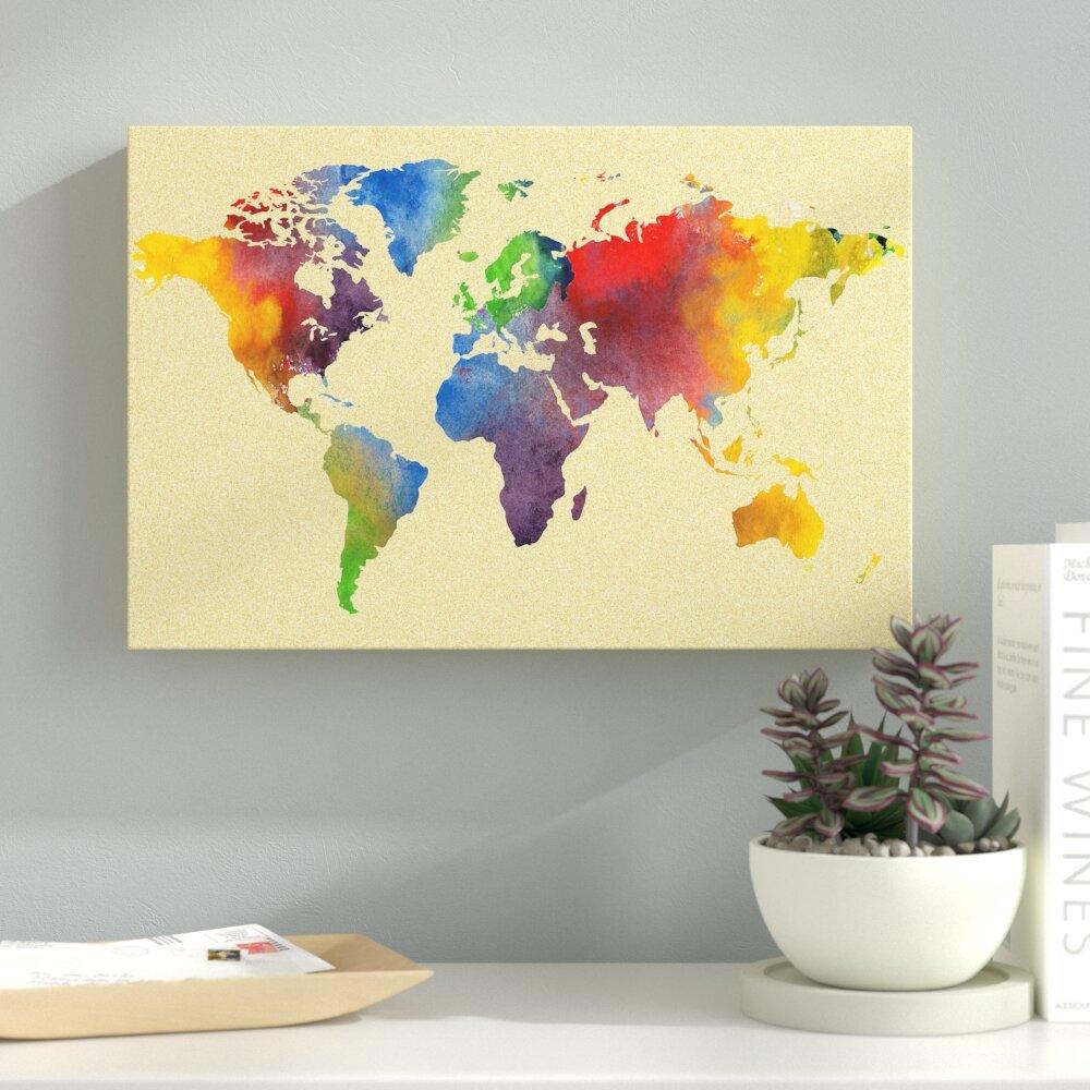 Ebern Designs Carlsen \'Vintage Rainbow World Map\' Graphic Art Print ...