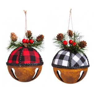 metal buffalo plaid bell ornament accessory set of 2 - Buffalo Christmas Decorations