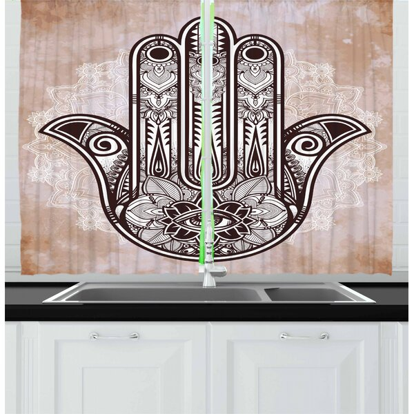 East Urban Home 2 Piece Culture Esoteric Luck Charm With Round Mandala Kitchen Curtain Wayfair