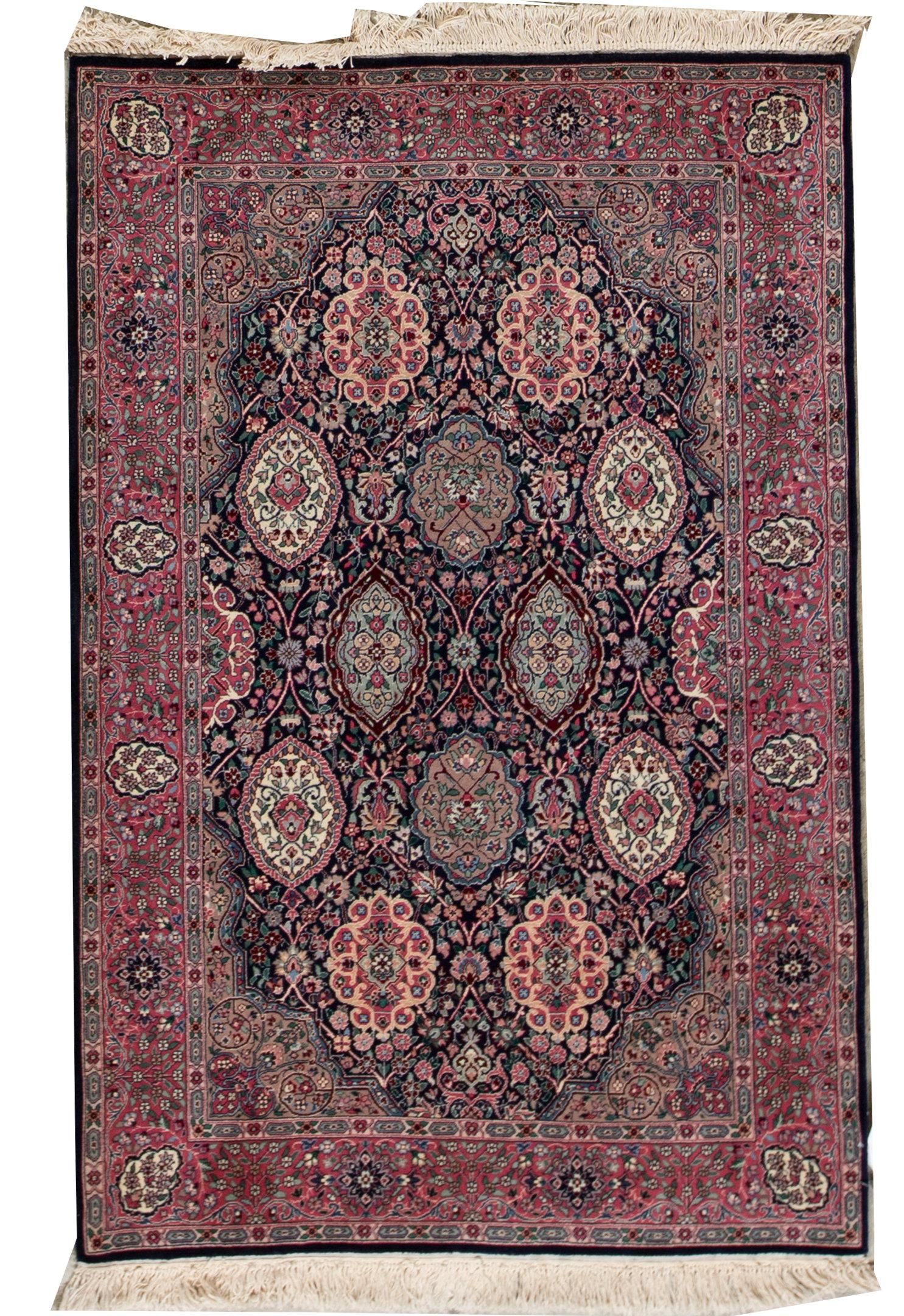 Bokara Rug Co Inc Shah Oriental Hand Knotted Wool Navy Beige Area Rug Wayfair