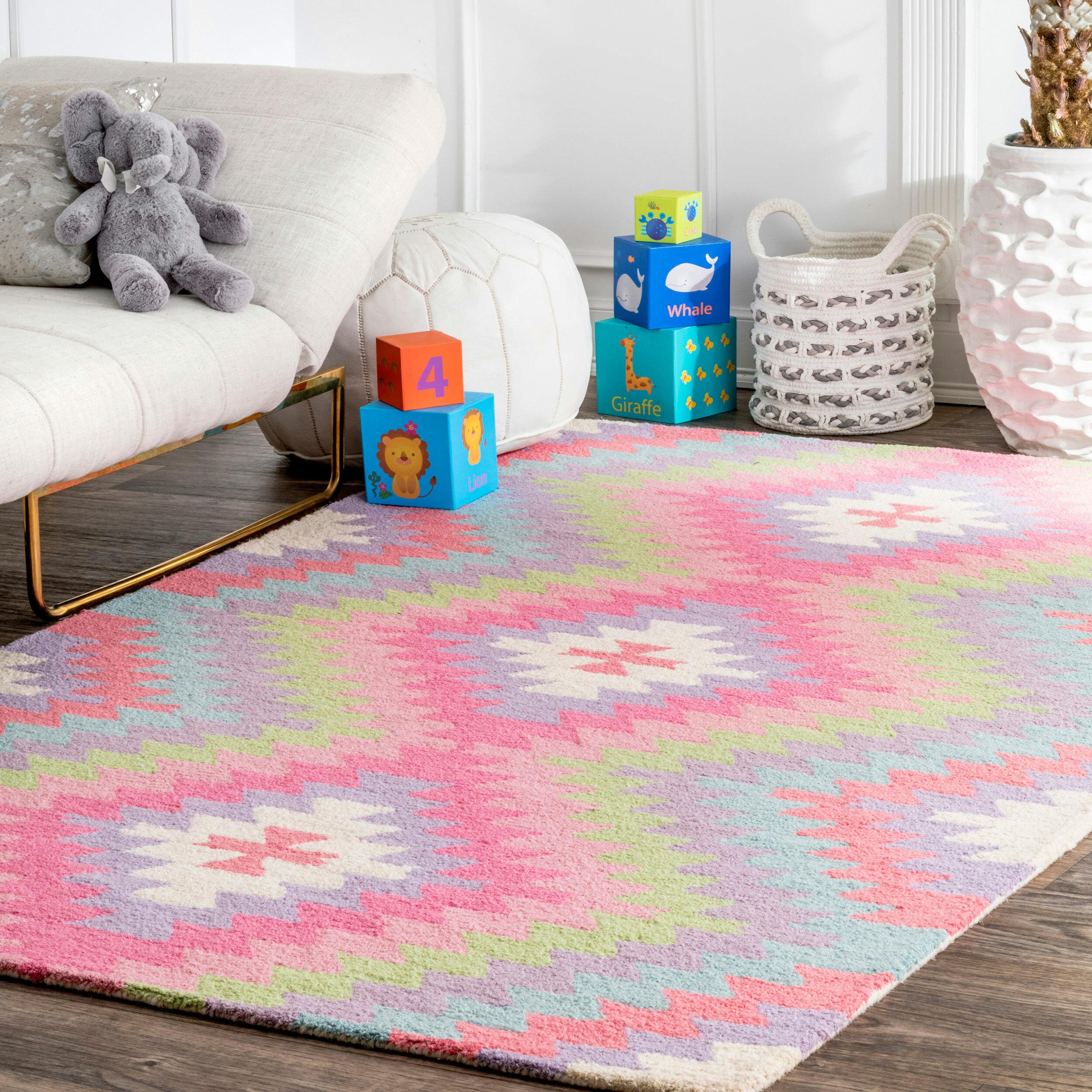 Harriet Bee Edgware Handmade Wool Pink Blue Area Rug Reviews Wayfair