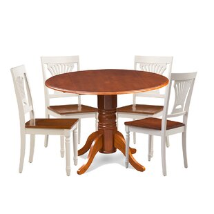 Brenton 5 Piece Drop Leaf Breakfast Nook Solid Wood Dining Set