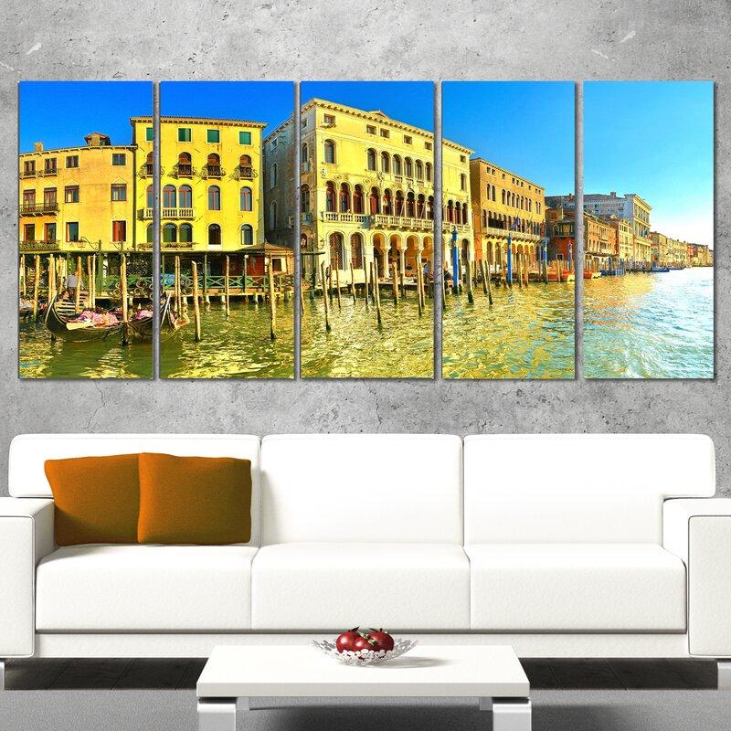 DesignArt Yellow Tinged Grand Canal Venice 5 Piece Wall Art on ...