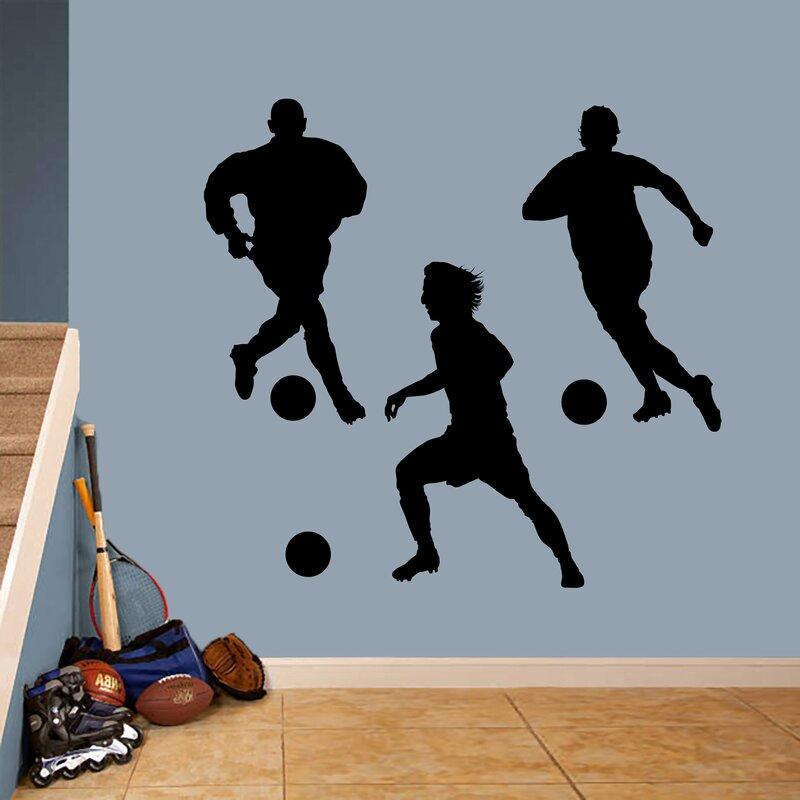 Harriet Bee Soccer Players 3 Piece Set Wall Decal Wayfair