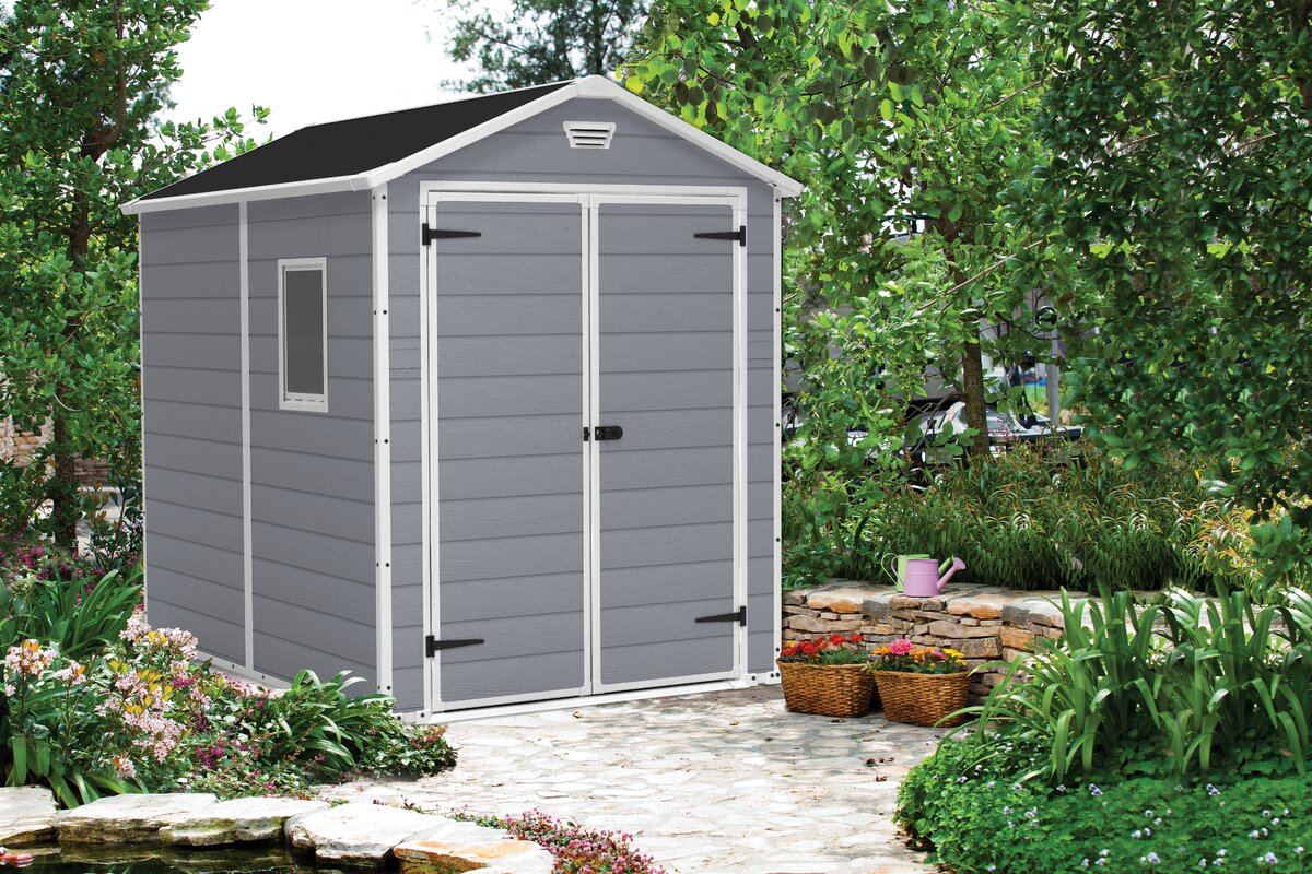 keter manor 6 ft w x 7 ft 5 in d plastic storage shed u0026 reviews
