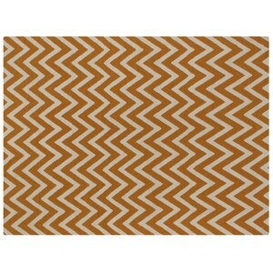 Flat Weave Light Orange/White Area Rug