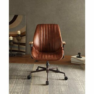 17 Stories Lebo Swivel Executive Genuine Leather Office Chair