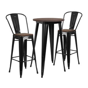 Mullenax Round 3 Piece Pub Table Set by Williston Forge