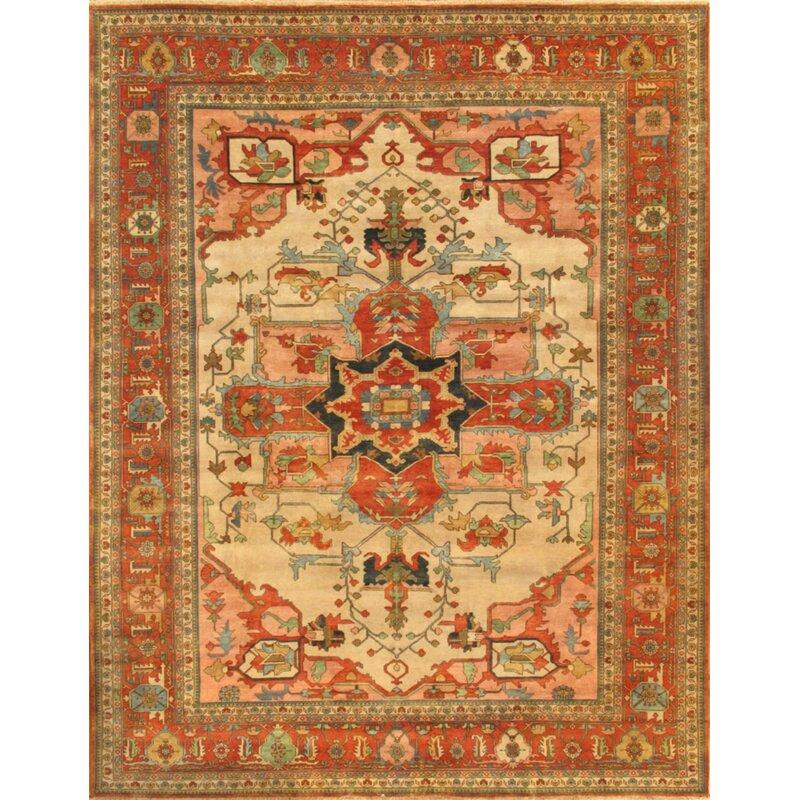 Pasargad Oriental Hand Knotted Wool Orange Beige Area Rug Wayfair