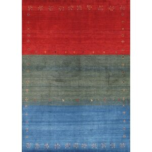 Gabbeh Hand Knotted Wool Red/Green/Blue Area Rug