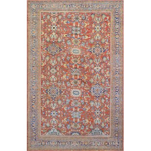 One-of-a-Kind Antique Sultanabad Handwoven Wool Brick Red Indoor Area Rug By Mansour