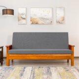 Housse pour futon lavable à coussins carrés extensible texturée