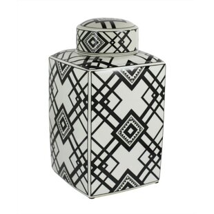 Captivating Square Decorative Ceramic Storage Jar by Foundry Select