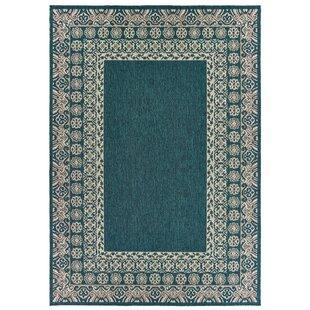Berryville Bordered Blue/Gray Indoor/Outdoor Area Rug