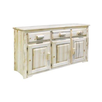 "Loon Peak Tustin 55"" Wide 3 Drawer Pine Wood Sideboard  Color: Unfinished"