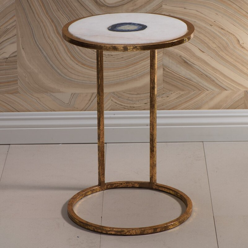Mercer41 Aquarius 20-inch Tall Marble and Inlaid Agate End Table