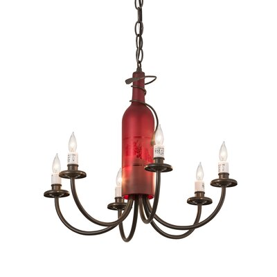 Meyda Tiffany Tuscan Vineyard Frosted Wine Bottle 6-Light Chandelier