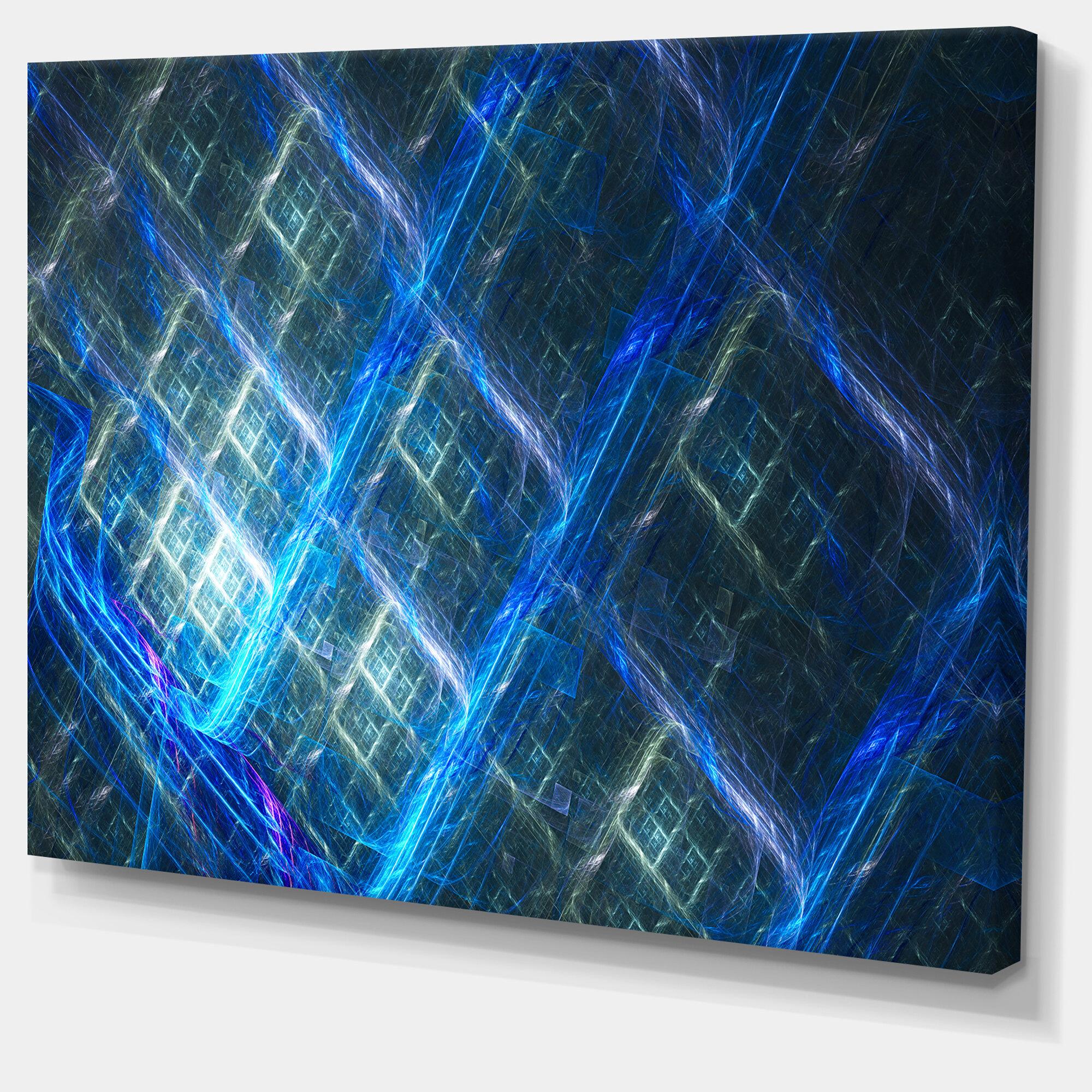 Designart Glowing Blue Fractal Grill Wrapped Canvas Print Wayfair