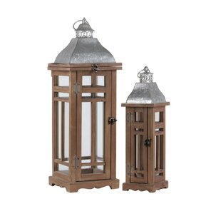 Gracie Oaks 2 Piece Wood Lantern Set