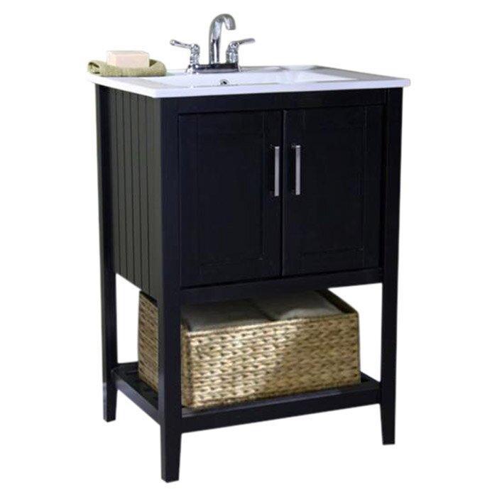 "Bathroom Vanity Baskets beachcrest home tamecca 24"" single bathroom vanity set with basket"
