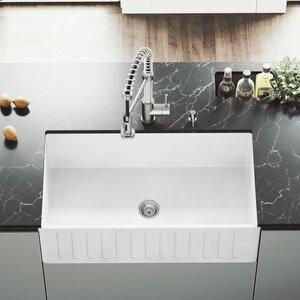 VIGO Matte Stone 33 x 18 Farmhouse Kitchen Sink with Faucet
