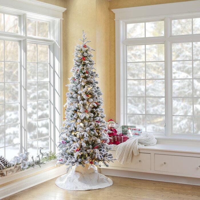 Pre Lit Lexington Slim 7 Flocked Fir Artificial Christmas Tree 1400 Warm White Lights