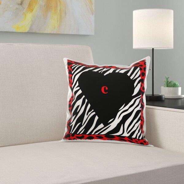 East Urban Home Letter C On Heart On Zebra Print Pillow Cover Wayfair