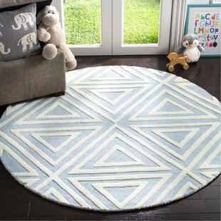 Brenner Hand-Tufted Wool Blue/White/Ivory Triangles Area Rug by Mack & Milo