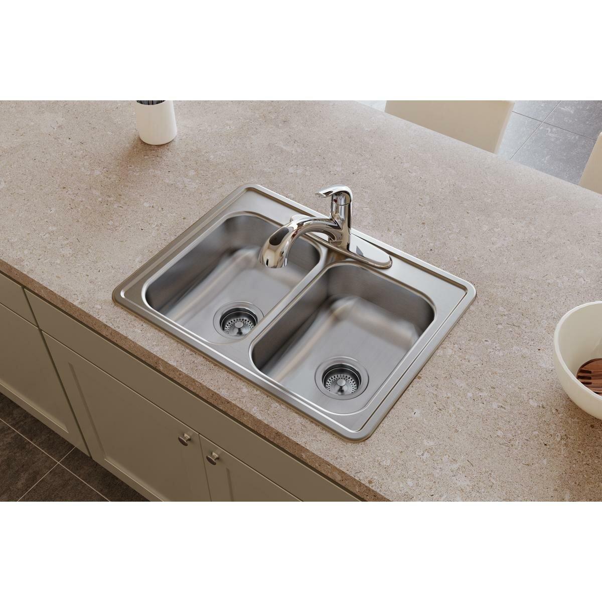Elkay Dayton 25 L X 19 W Double Basin Drop In Kitchen Sink Reviews Wayfair