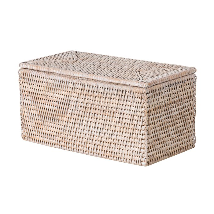 Rectangular Storage And Toilet Roll Box Rattan Basket