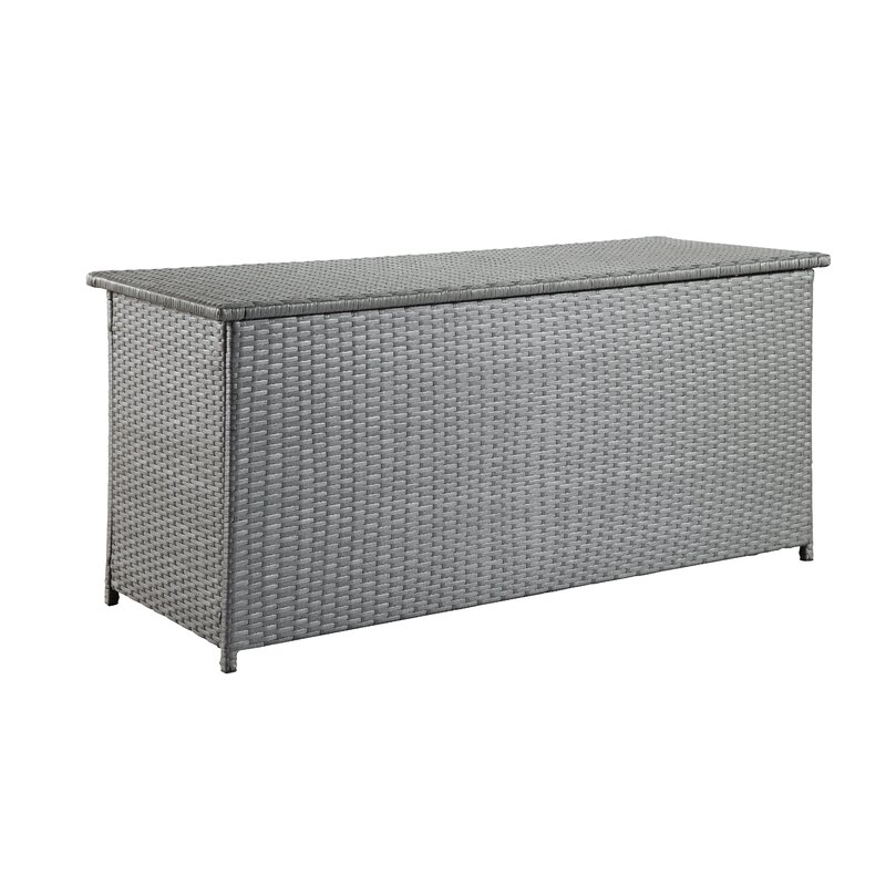 Sol 72 Outdoor  Dorian 134 Gallon Wicker Deck Box Color: Gray