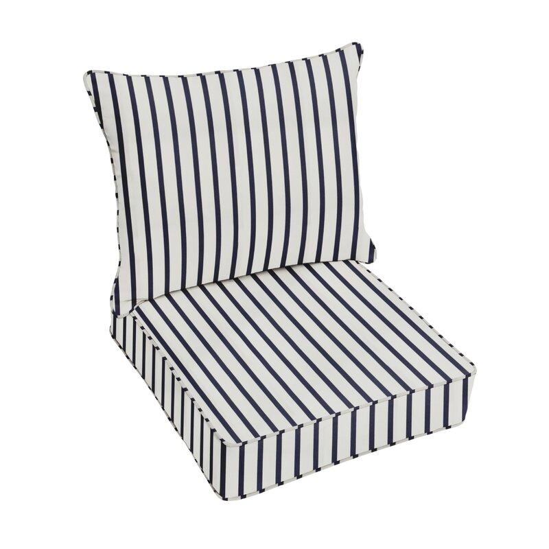 Whitten Stripe Indoor Outdoor Sunbrella Lounge Chair Cushion