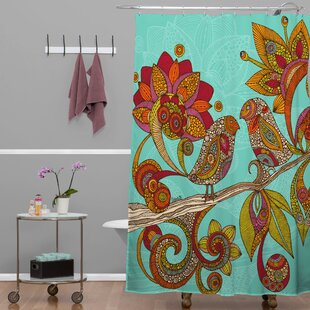 Look for Deepak Hello Birds Shower Curtain By Bungalow Rose