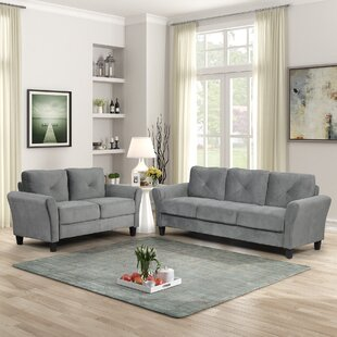 2 Pieces Tufted Upholstered Loveseat & Couch Sofa Track Arm Classic Mid-century Modern Sofa Set by Red Barrel Studio