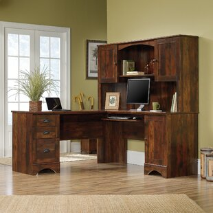 Beachcrest Home Pinellas L-Shape Computer Desk with Hutch