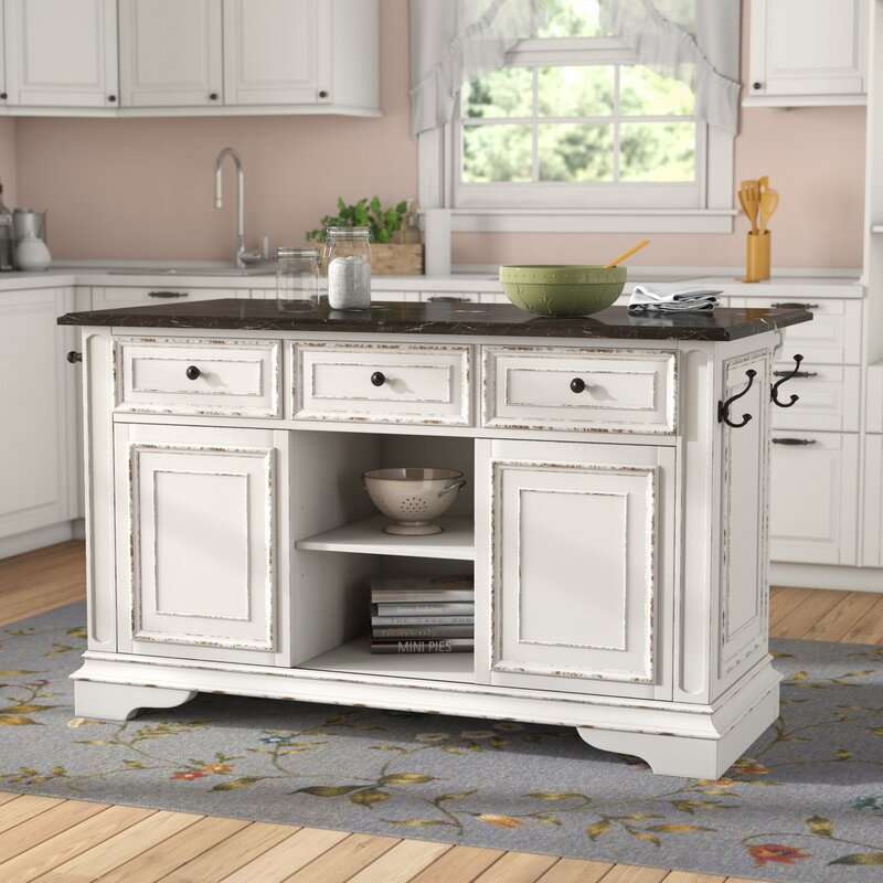Charmant Tiphaine Kitchen Island With Granite Top