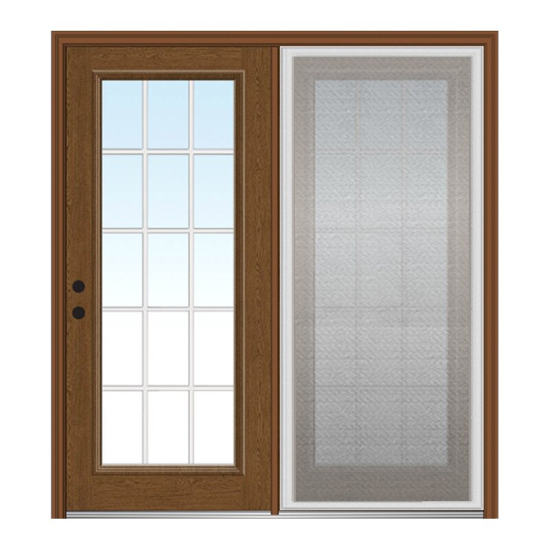 Verona Home Design Champagne Fiberglass Prehung Patio Door With