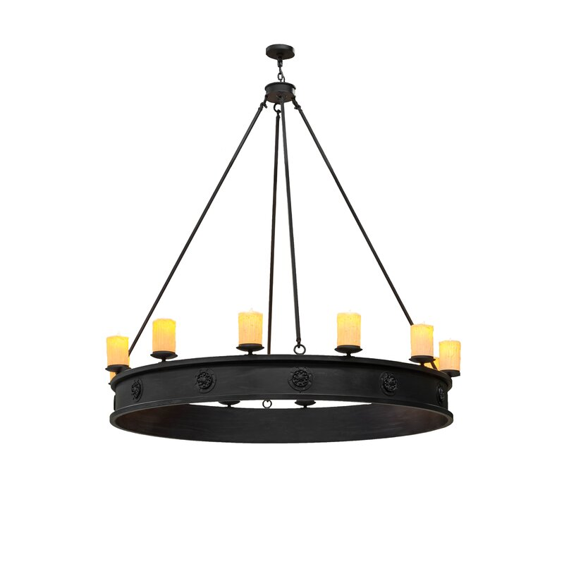 Foundry Select Tague 12 Light Candle Style Wagon Wheel Chandelier Wayfair