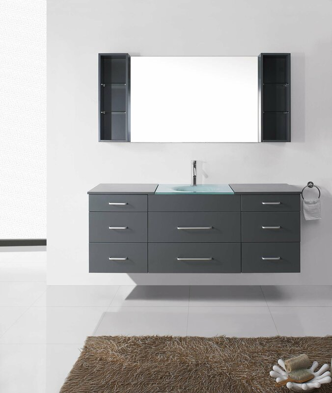 "Bathroom Vanity Glass Top virtu usa colombo 63"" single bathroom vanity set with tempered"
