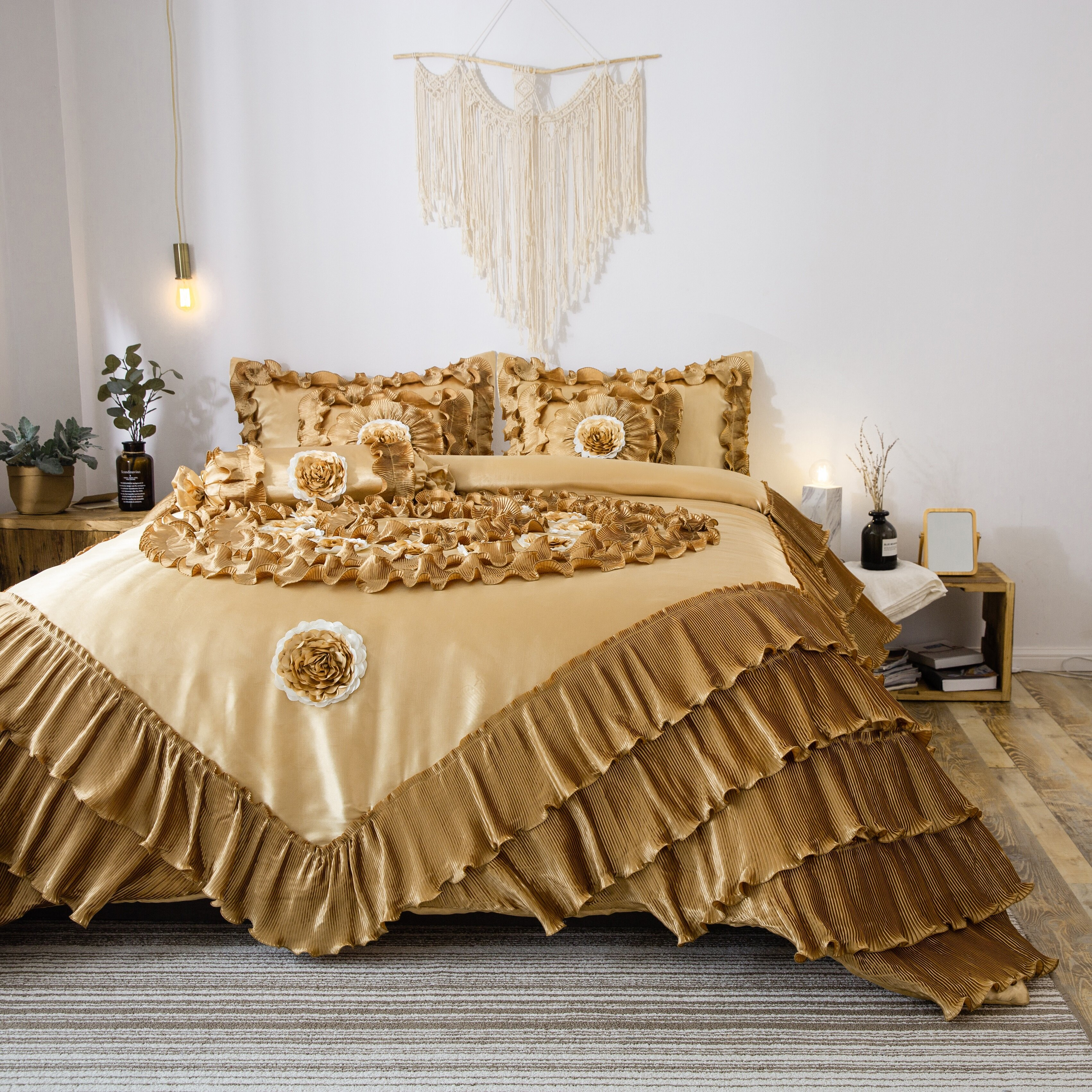 Bedspread Throws Pillow Sham Polyester Luxury Comforter Set For Double King Size