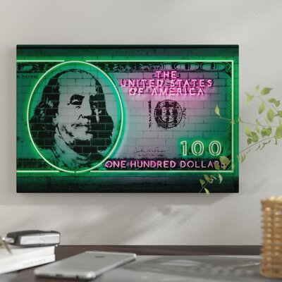 100 Dollars Graphic Art Print on Canvas East Urban Home Size 40 H x 60 W x 15 D