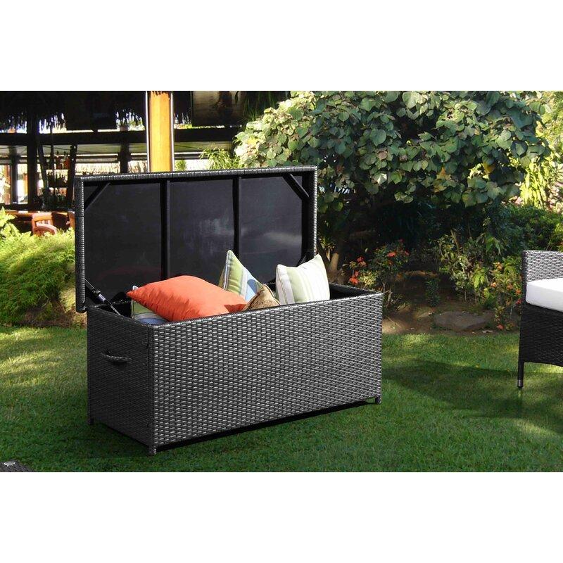Bay Isle Home Hasting Garden 100 Gallon Wicker Deck Box