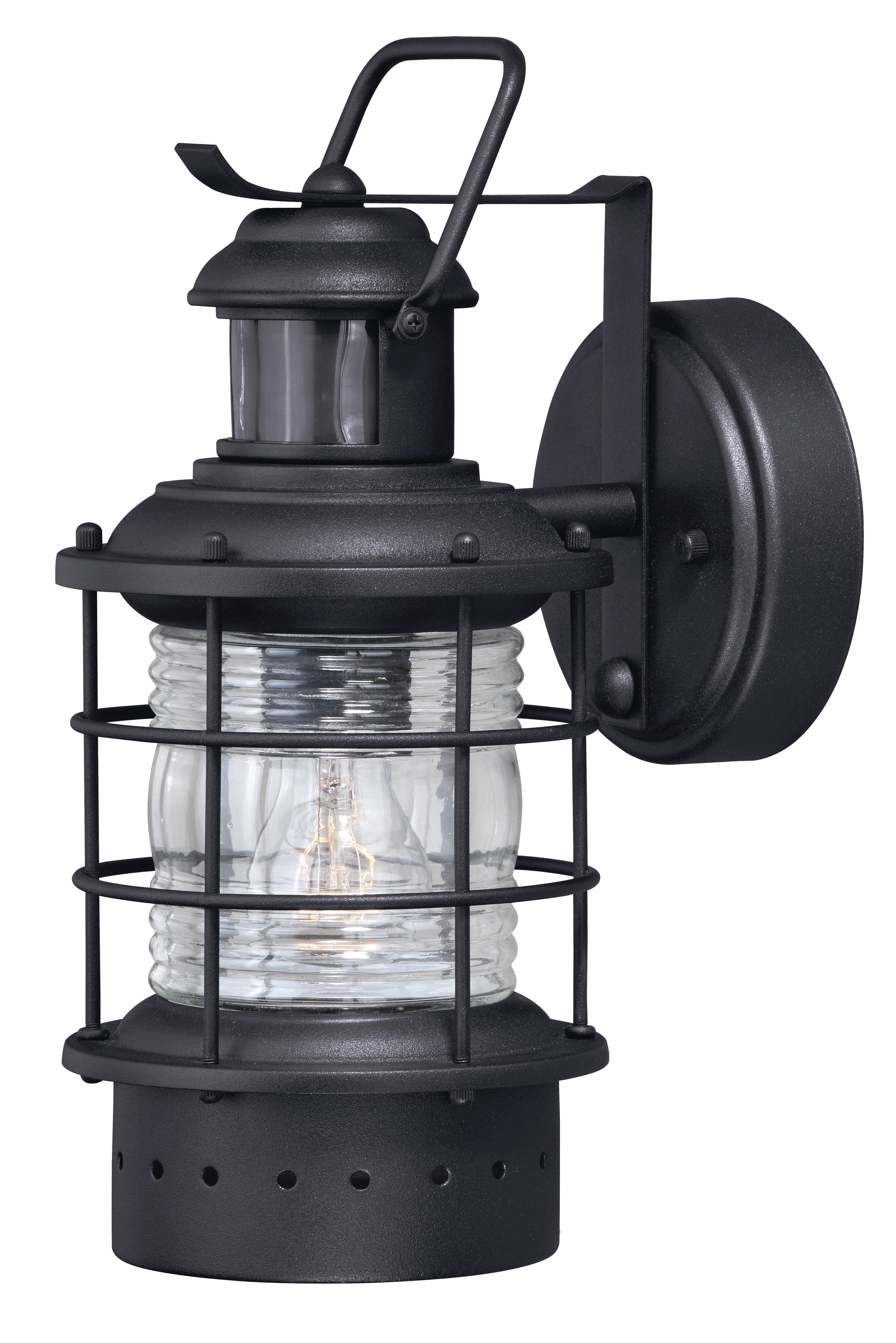 Beachcrest Home Stimson Modern Outdoor Wall Lantern With Motion Sensor Reviews Wayfair