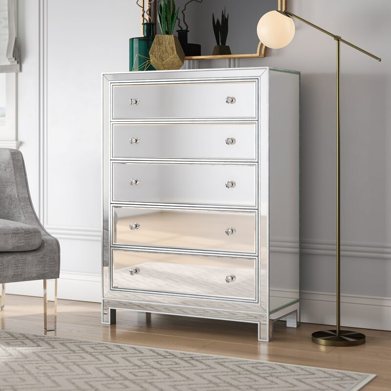 Tracey 5 Drawer Mirrored Accent Chest