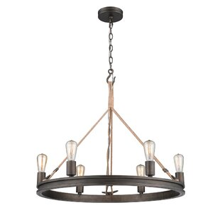 Longfellow 6-Light Wagon Wheel Chandelier by Breakwater Bay