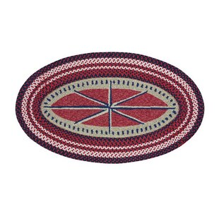 Wieland Maritime Compass sailboats Hand-Braided Ruby Area Rug by Breakwater Bay