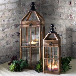 Gracie Oaks Square 2 Piece Wood Lantern Set