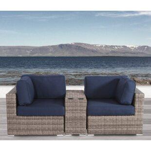 Breakwater Bay Jamesport 3 Piece Sunbrella Conversation Set with Cushions