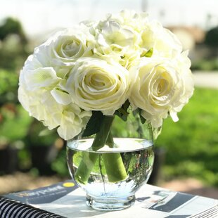 Artificial Rose and Hydrangea Floral Arrangement and Centerpiece in Vase